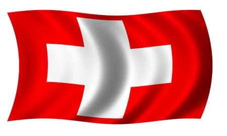 Flag of Switzerland in wave photo