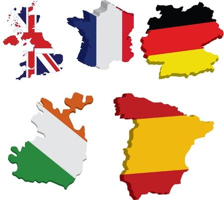 3d flag maps of european countries