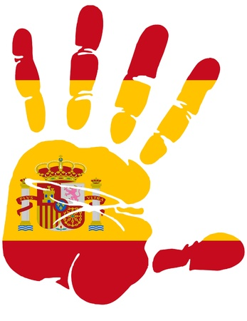 spanish flag: Hand print of Spain flag colors