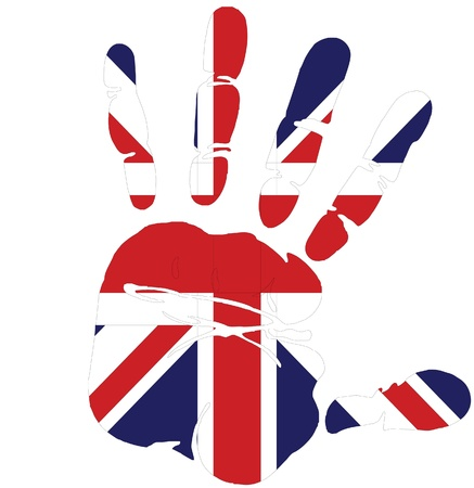 bandera de gran bretaña: Mano de impresión de Gran Bretaña Vectores