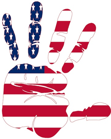 glory: Hand print of American flag colors Illustration