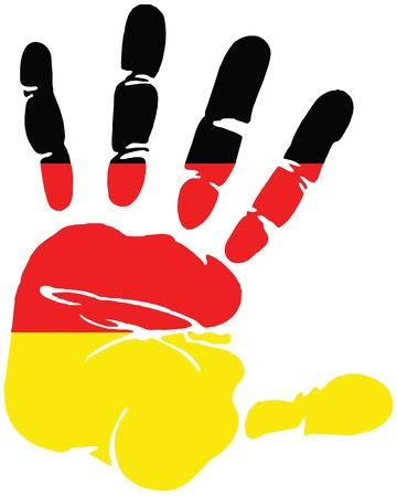 la union hace la fuerza: Huella de la mano de Alemania, con los colores de la bandera alemana Vectores