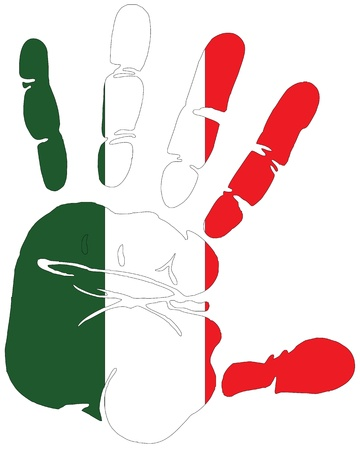 european culture: Handprint for Italy with flag of Italy colors Illustration