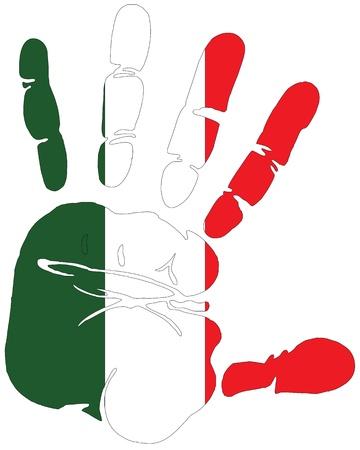Handprint per l'Italia con la bandiera di colori Italia