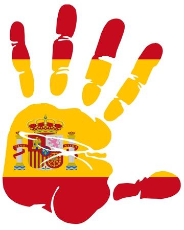 Hand afdruk van Spanje vlag kleuren Vector Illustratie