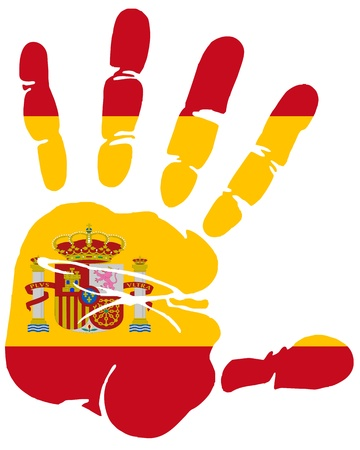 bandiera spagnola: Mano di stampa i colori della bandiera Spagna
