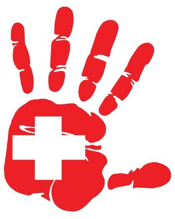 Hand afdruk van Zwitserse vlag kleuren