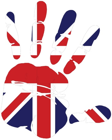 english flag: Hand print of great britain with the flag of Great britain