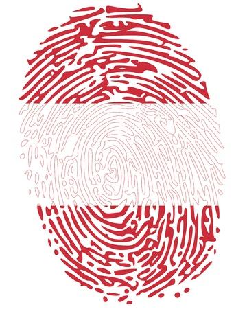 odcisk kciuka: Print Austria kciuk symbol w kolorach flagi austriackiej