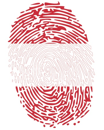 Thumb print Austria symbol in colors of austrian flag Vector