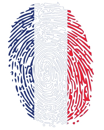 fingerprinted: Thumbprint Flag Colors of France Illustration