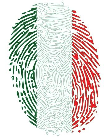 odcisk kciuka: Kolory Flag odcisk palca Włoszech Ilustracja