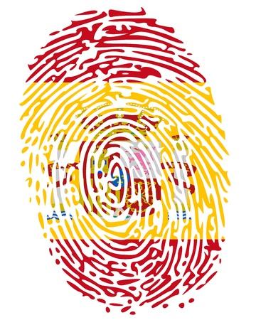 odcisk kciuka: Kolory Flag odcisk palca Hiszpanii Ilustracja