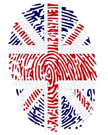 odcisk kciuka: Kolorów flagi palca Wielkiej Brytanii