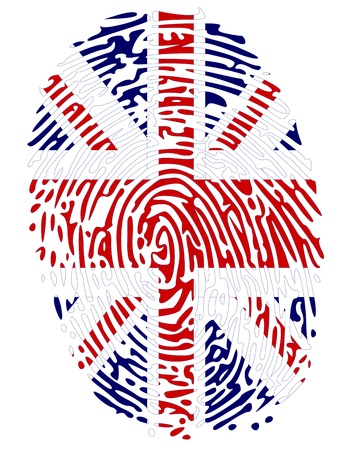 Thumbprint Flag Colors of Great Britain Vector
