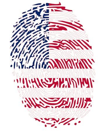 odcisk kciuka: Kolory Flag odcisk palca Stanów Zjednoczonych Ameryki Ilustracja