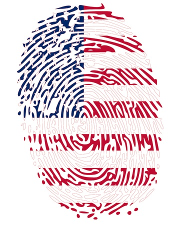 forensic science: Thumbprint Flag Colors of United States of America Illustration