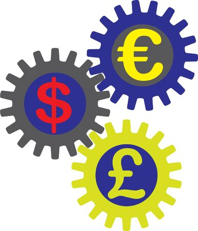 currencies and gears Vector