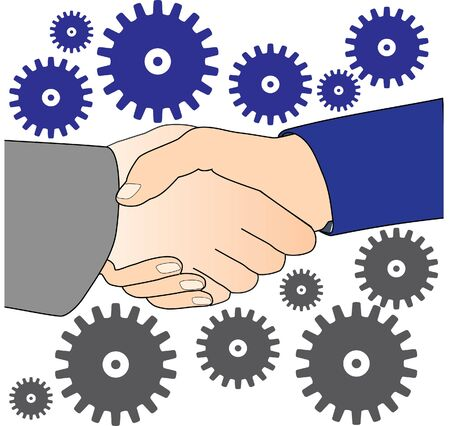 two people meeting: hand shake and gears