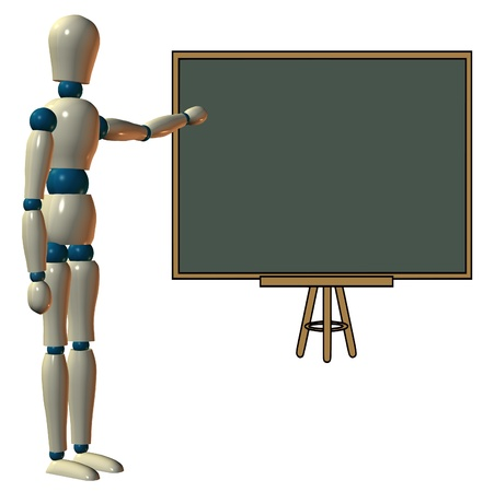 manequin: Teaching on a blackboard