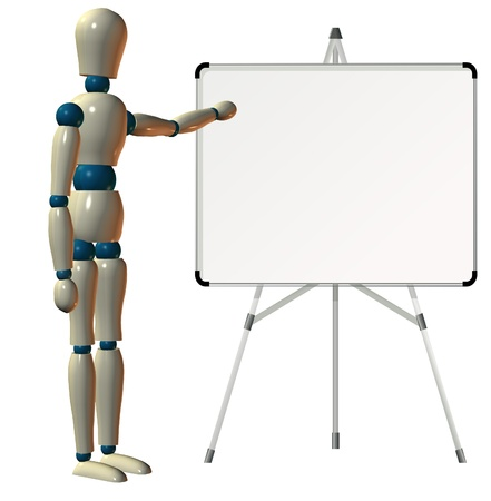 wooden doll: Teaching on white board
