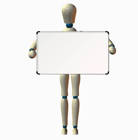 Person with copyspce on white board photo