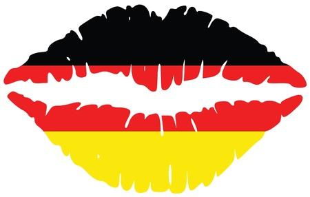 german flag: lips print in colors of germany