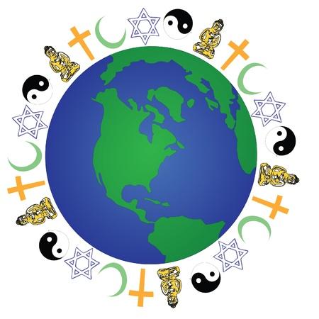 wereldwijde religie Vector Illustratie