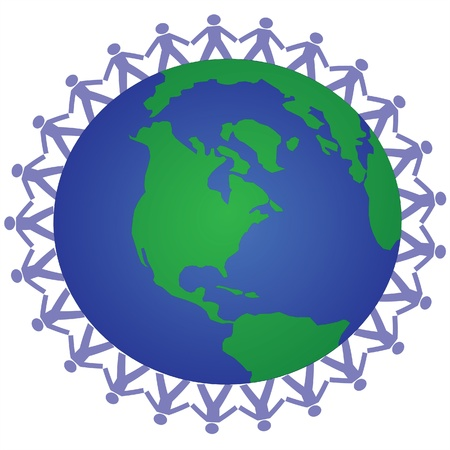 hands holding earth: global unity Illustration