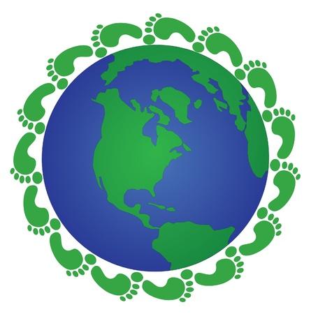 footprints around the globe Vector