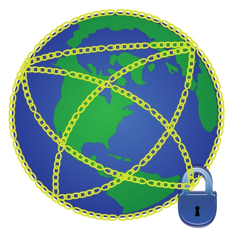 Globe in chains Stock Vector - 13214038