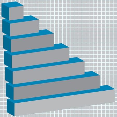 3d horizontal bar graph Vector