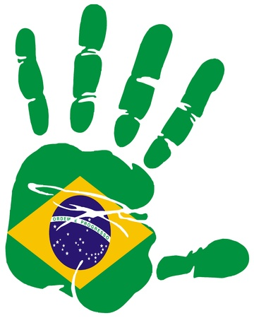 brazil country: Hand print impression of flag of Brazil