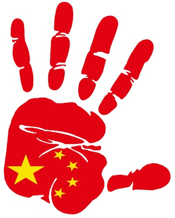 Hand print impression of flag of Peoples republic of China Vector