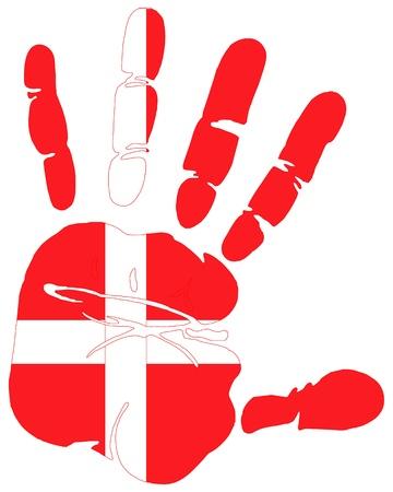 Huella de la mano la bandera de Dinamarca Ilustración de vector