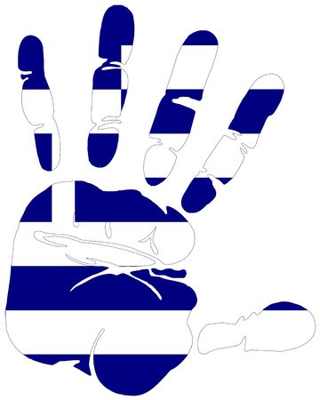 greece flag: Handprint in the colors of flag of Greece
