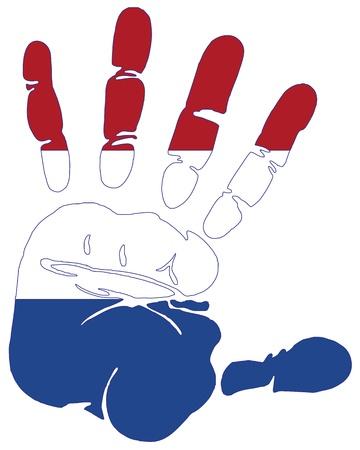 north holland: Hand print impression of flag of Netherlands Illustration