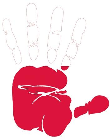 polish flag: Hand print impression of flag of Poland
