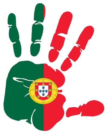drapeau portugal: Impression empreinte de la main de pavillon du Portugal