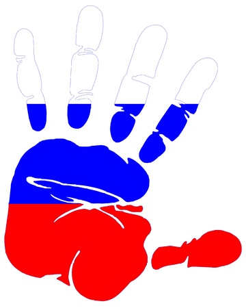 Hand print impression of flag of Russia Vector