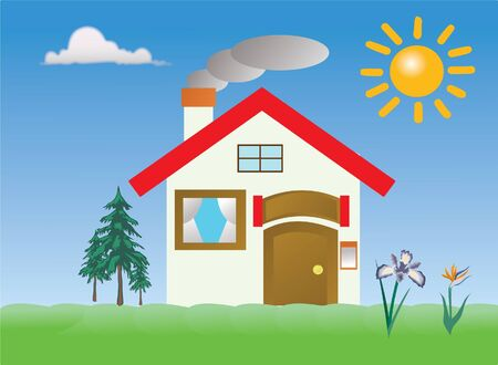 rural area: house in a rural area Illustration