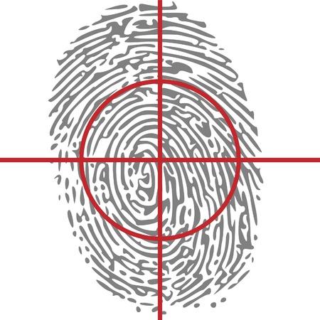odcisk kciuka: Cel tożsamość na odciskiem palca Ilustracja