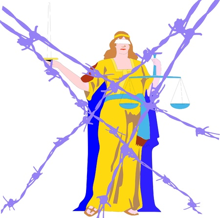 german tradition: lady justice behind barbed wires