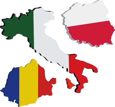 bandera de polonia: mapa de Italia, Polonia y Ruman�a en 3d Vectores