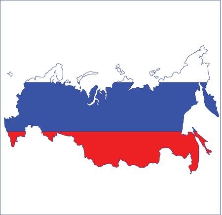 kaart vlag van Rusland Vector Illustratie