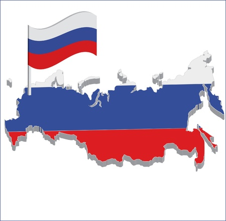 map flag of russia Vector