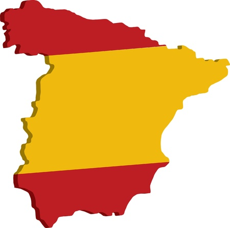 spanish flag: map of spain
