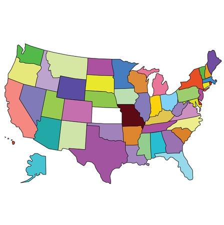 la carte des Etats-Unis d'Amérique
