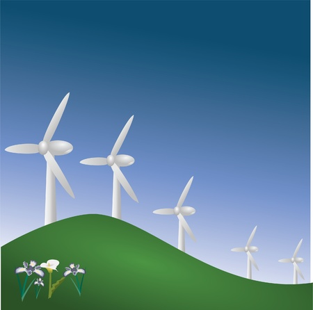 generate: wind mills on top of hill