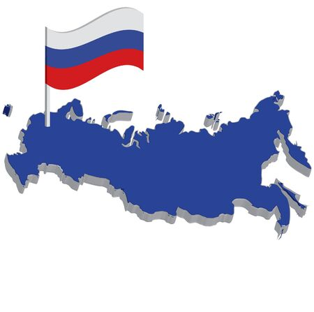 blue map of russia with flag photo